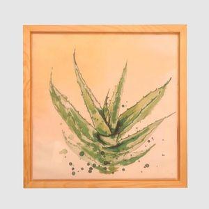 Wood Framed Succulent Plant Wall Art